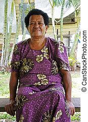 donna, anziano,  fijian, Indigeno