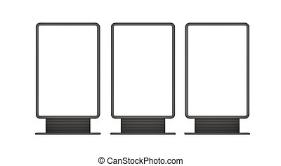 Vertical blank outdoor Lightboxes. Isolated on white. 3D...