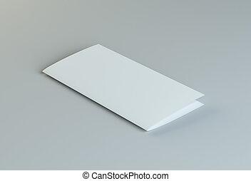 Lying blank two fold paper brochure