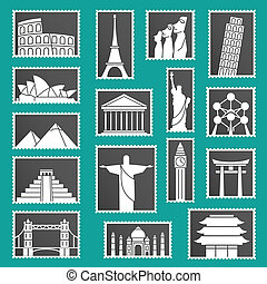 Set of monuments stamps icons symbols illustration