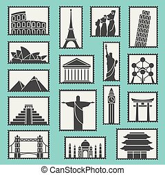 Set of monuments stamps vector icons symbols illustration