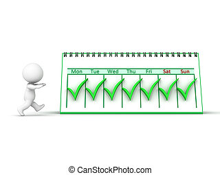 3D Character and Calendar - A 3D character and a week...