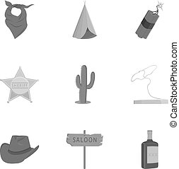 Wild west set icons in monochrome style. Big collection of...