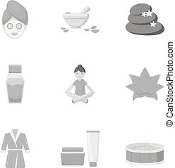 Spa set icons in monochrome style. Big collection of spa...