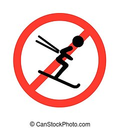 Not for ski sledge icon on white background, vector illustration