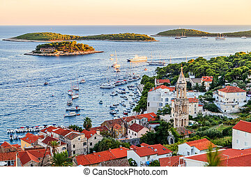 Hvar town harbor - Landscape photo of Hvar town harbor in...