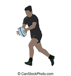 Running rugby player with ball, abstract vector silhouette