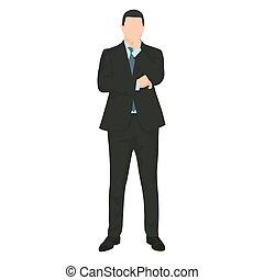 Businessman thinking. Man in dark suit standing a making...