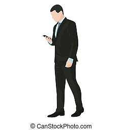 Business man is going with mobile phone in hand and writing...