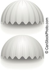 round striped awnings