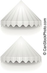 white conical awnings