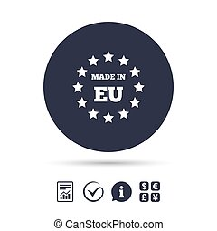 Made in EU icon. Export production symbol. Product created...