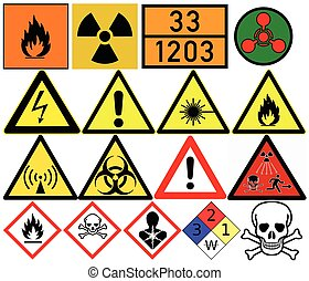 Hazard symbols. Generic caution, Poison, Radiation,...