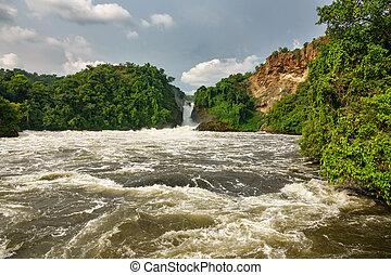 Murchison Falls in Uganda - Wide view of Murchison Falls in...