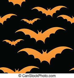 Orange bats on black, seamless tile, halloween vector, eps10