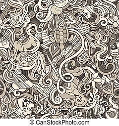 Cartoon cute doodles hand drawn Indian culture seamless...