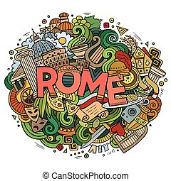 Cartoon cute doodles hand drawn Rome inscription. Colorful...