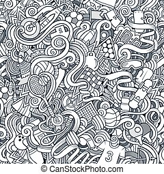 Cartoon cute doodles hand drawn Sport seamless pattern....