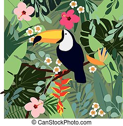 Summer tropical background. Toucan bird with palm leaves, hibiscus, heliconia and plumeria flowers, stock vector illustrations, flat design.