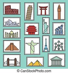 Set of monuments stamps vector line style icons symbols...