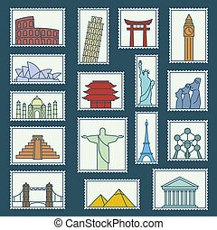 Set of monuments stamps line style icons symbols...