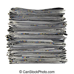 Pile of newspapers with clipping path