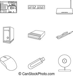Personal computer set icons in outline style. Big collection...