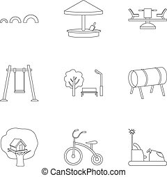 Play garden set icons in outline style. Big collection of...