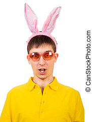 Young Man with Bunny Ears - Funny Young Man in Bunny Ears...