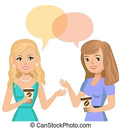 Two young women talking in cafe. Gossip girls. Meeting friends. Vector illustration.