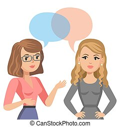 Two young women talking. Meeting colleagues or friends. Gossip girls. Vector illustration.