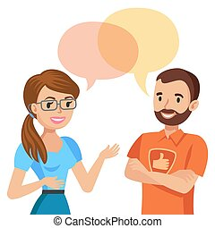 Woman talking with a computer specialist. Vector illustration.