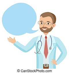 Smiling doctor with speech bubble. Happy physician. Vector...