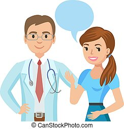 Doctor and patient. Woman talking to physician. Vector...