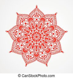 Red Mandala. - Red Mandala on white background. Hand drawn...