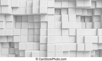 Beautiful Abstract Cubes Looped 3d Animation. White Wall Moving. Seamless Background.