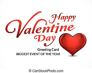 happy Valentine's Day Greeting Card With Heart