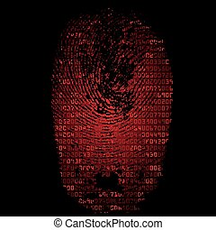 Background with fingerprint and hexadecimal code - Red...