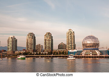 Vancouver Science World skyline from the water - View of the...