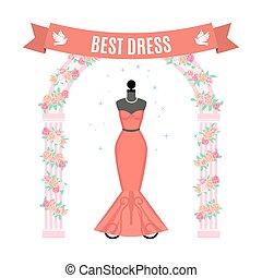 Red Evening Dress. Vintage dress on mannequin. Vector. - Red...