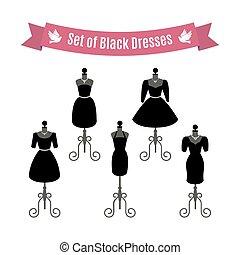 Set of Black Dresses. Vintage dresses on mannequins. Vector.