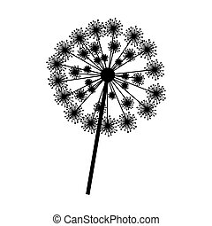 silhouette dandelion with stem and pistil closeup vector...