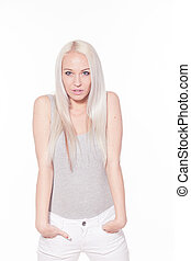 Portrait of a girl blondes grey white beautiful