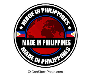 Made in Philippines label, vector illustration