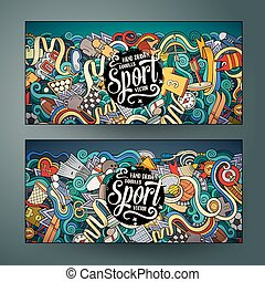 Cartoon vector hand drawn doodles Sport banners - Cartoon...