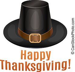 Happy Thanksgiving card, poster, background with piligrim hat. Vector illustration.