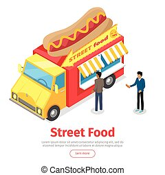 Fast Food Truck Isometric Projection Style. People - Fast...