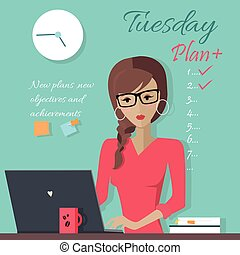 Office Lady Writing Down a Week Plan - New plans, new...