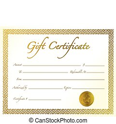 Gift Certificate - Gold Gift Certificate with golden seal...
