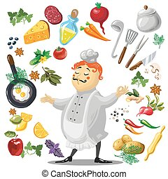 Illustration of friendly Chief cook, food design elements. -...